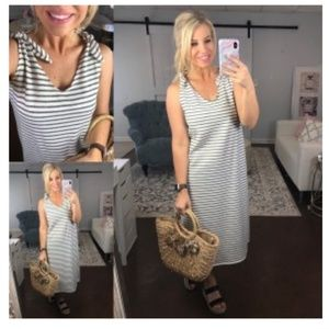 Striped tank midi-dress with tie sleeves